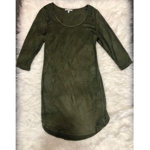 Olive Green Suede Long-sleeve Dress